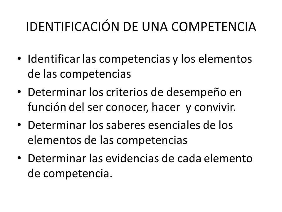 IDENTIFICACIÓN DE UNA COMPETENCIA