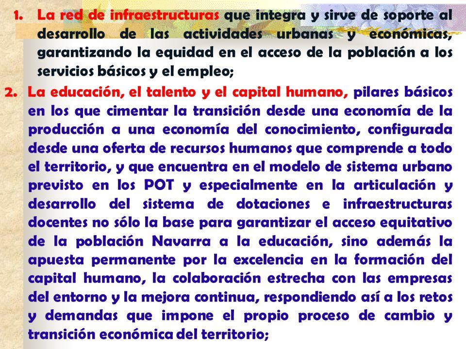 La red de infraestructuras que integra y sirve de soporte al desarrollo de las actividades urbanas y económicas, garantizando la equidad en el acceso de la población a los servicios básicos y el empleo;