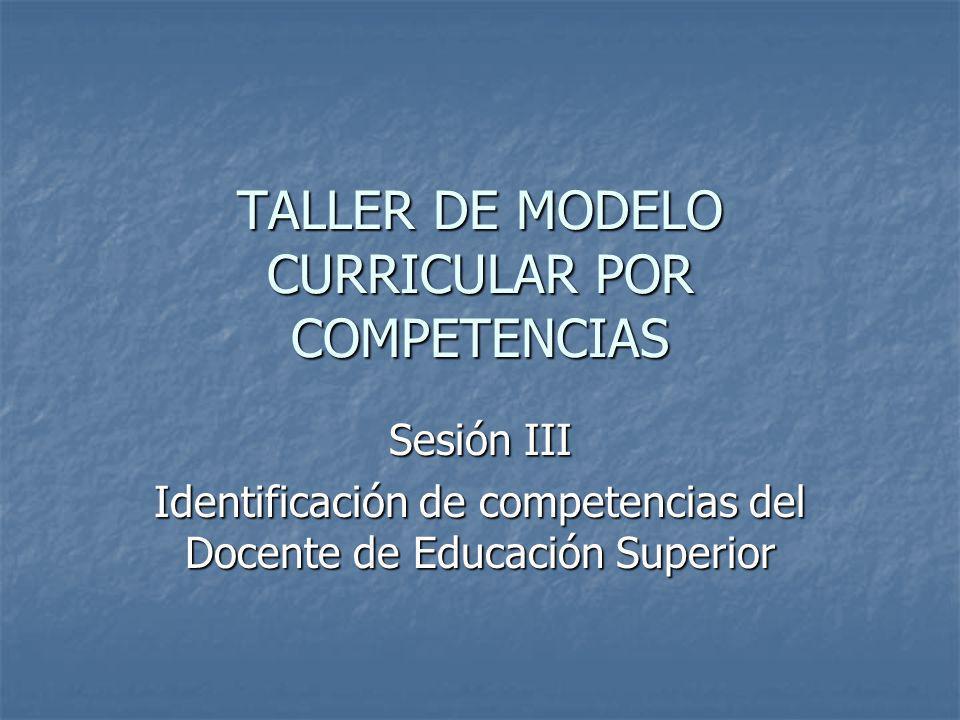 TALLER DE MODELO CURRICULAR POR COMPETENCIAS
