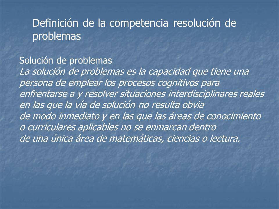 Definición de la competencia resolución de problemas