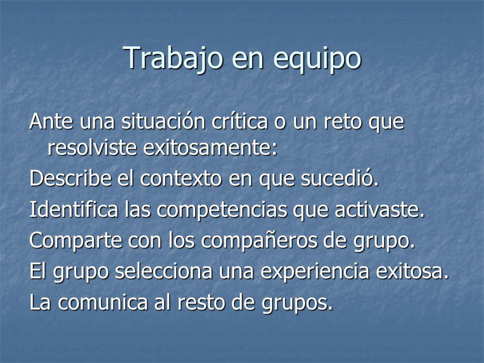 Trabajo en equipo Ante una situación crítica o un reto que resolviste exitosamente: Describe el contexto en que sucedió.