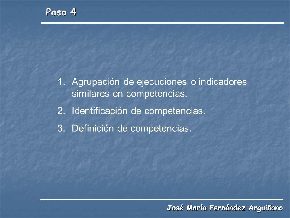 Agrupación de ejecuciones o indicadores similares en competencias.