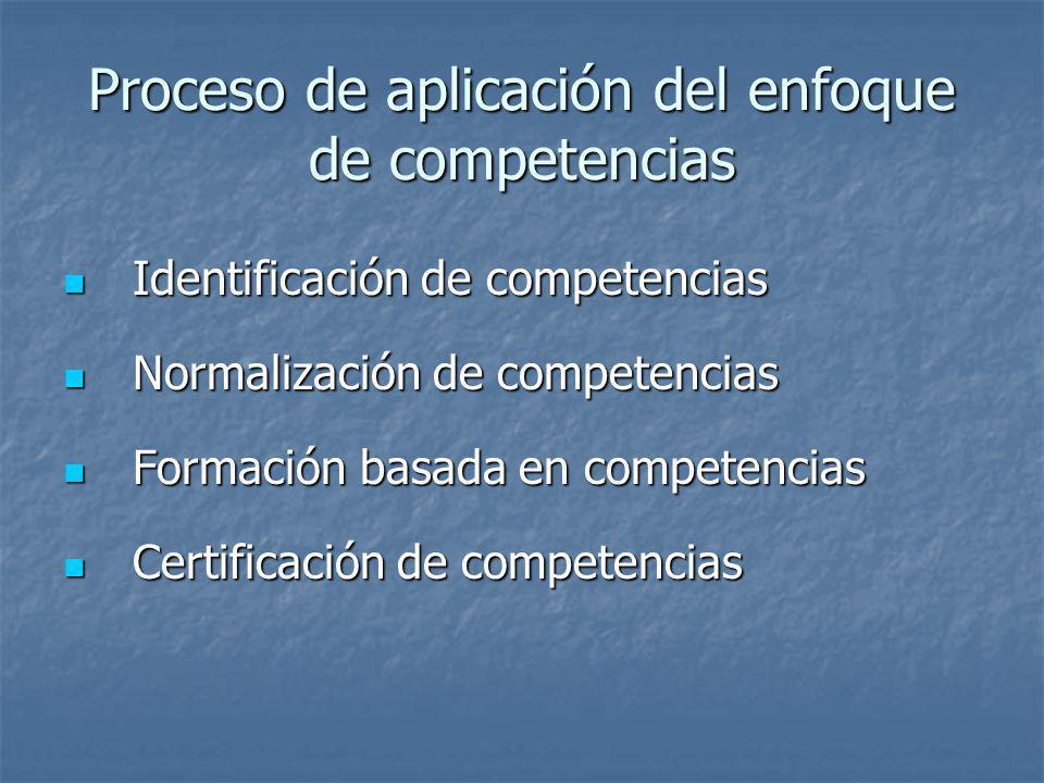 Proceso de aplicación del enfoque de competencias
