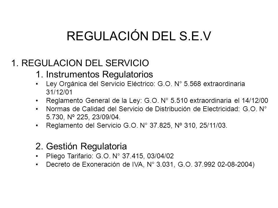 REGULACIÓN DEL S.E.V REGULACION DEL SERVICIO Instrumentos Regulatorios