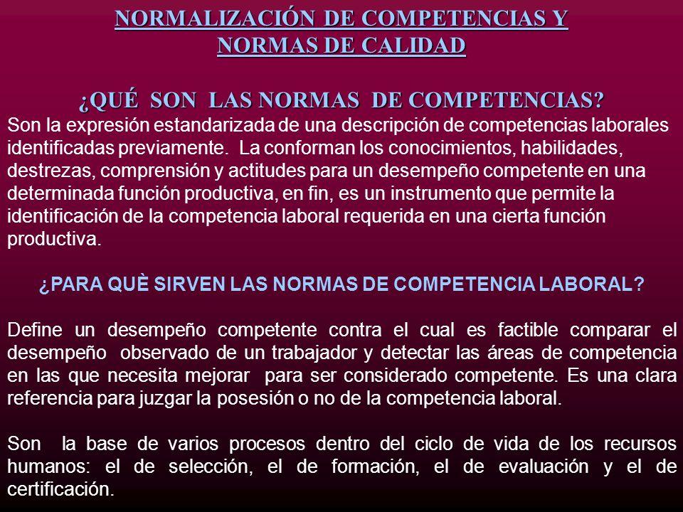 NORMALIZACIÓN DE COMPETENCIAS Y NORMAS DE CALIDAD