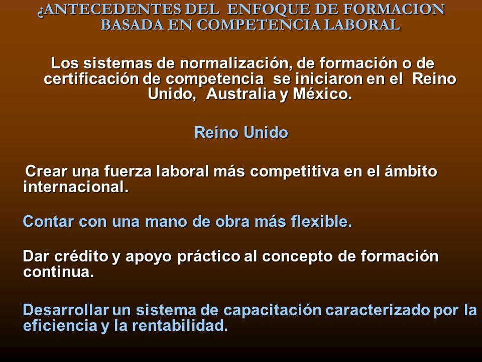 ¿ANTECEDENTES DEL ENFOQUE DE FORMACION BASADA EN COMPETENCIA LABORAL