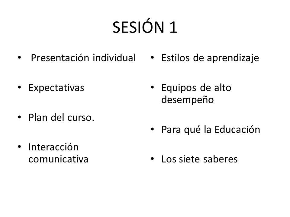 SESIÓN 1 Presentación individual Expectativas Plan del curso.