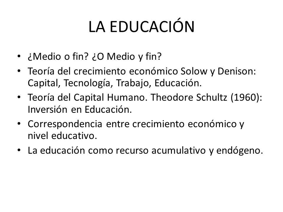 LA EDUCACIÓN ¿Medio o fin ¿O Medio y fin