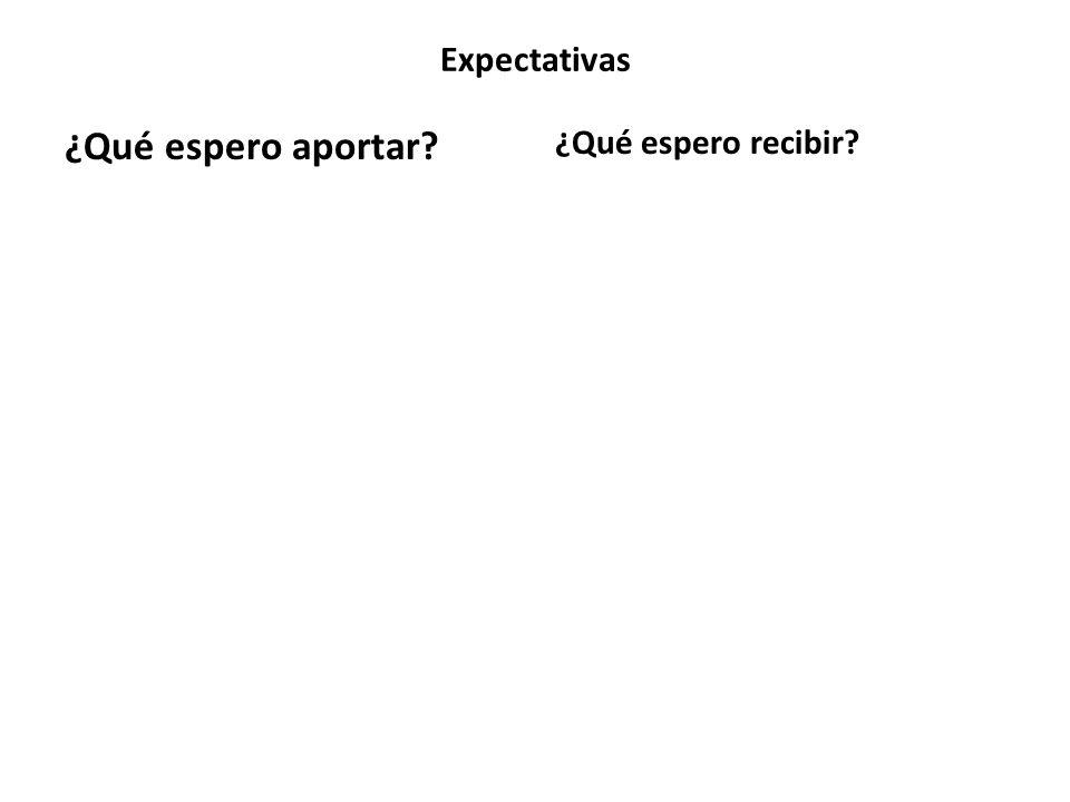 Expectativas ¿Qué espero aportar ¿Qué espero recibir