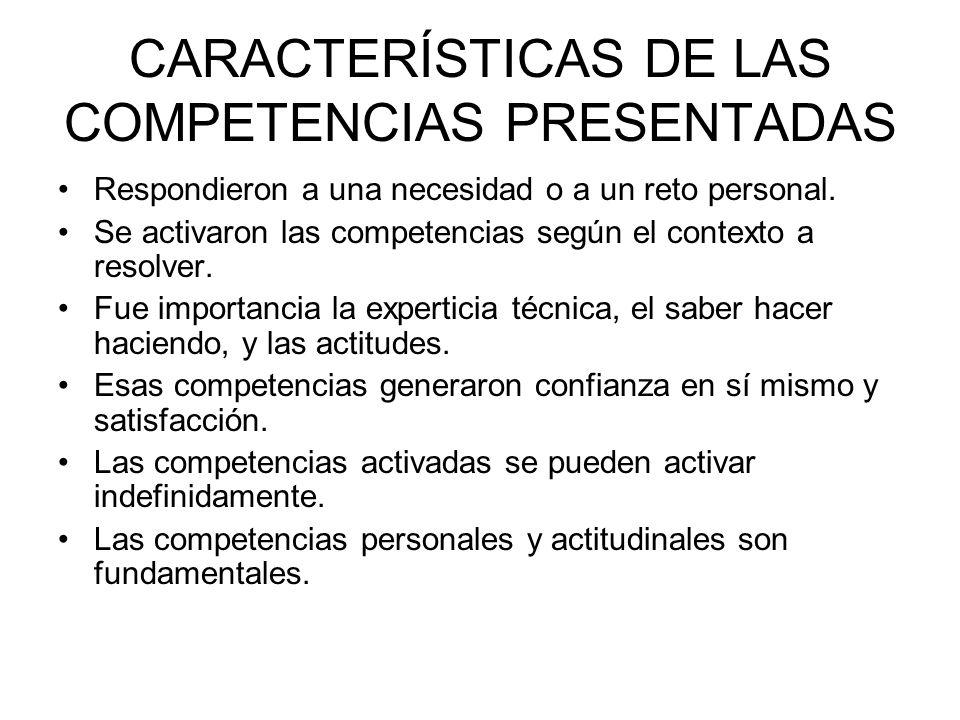 CARACTERÍSTICAS DE LAS COMPETENCIAS PRESENTADAS