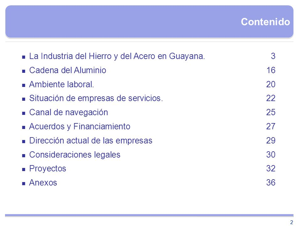 Contenido La Industria del Hierro y del Acero en Guayana. 3