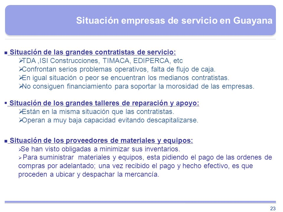 Situación empresas de servicio en Guayana