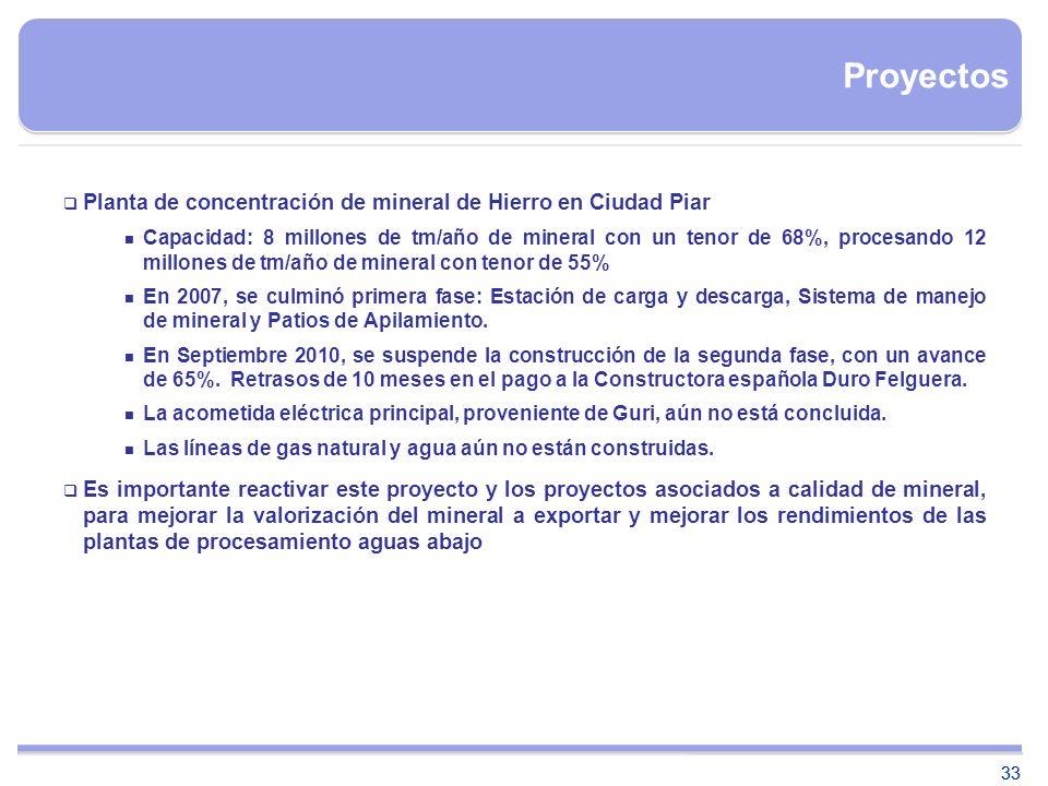 Proyectos Planta de concentración de mineral de Hierro en Ciudad Piar