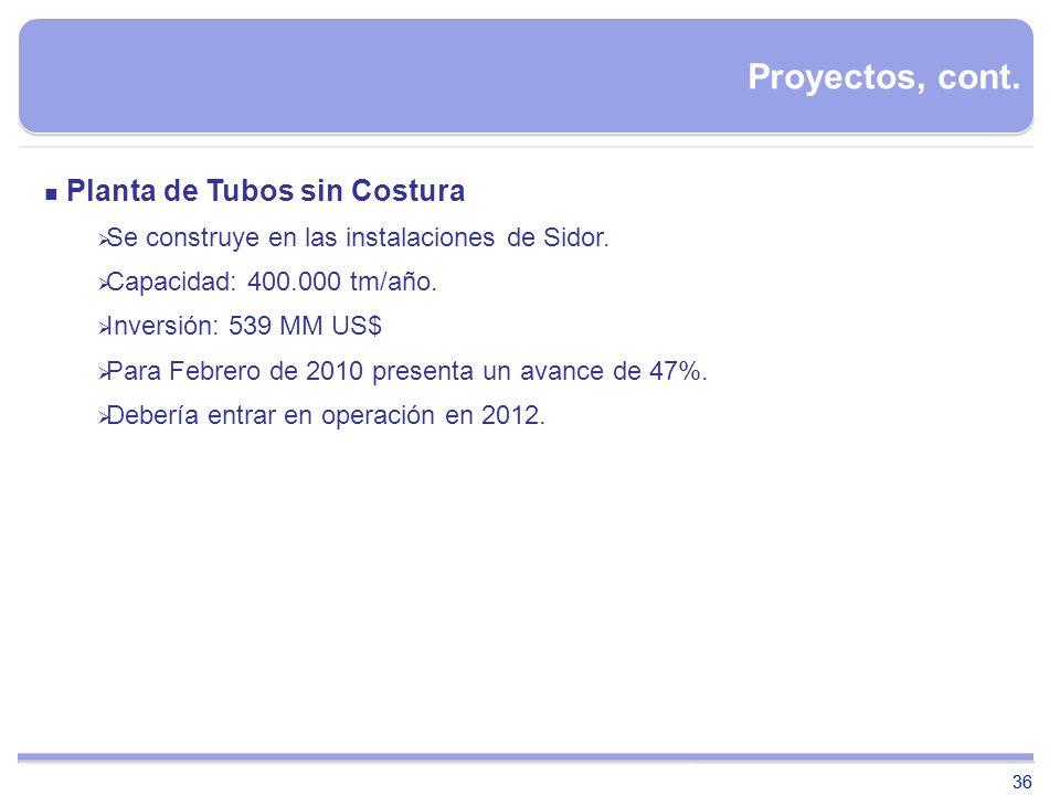 Proyectos, cont. Planta de Tubos sin Costura