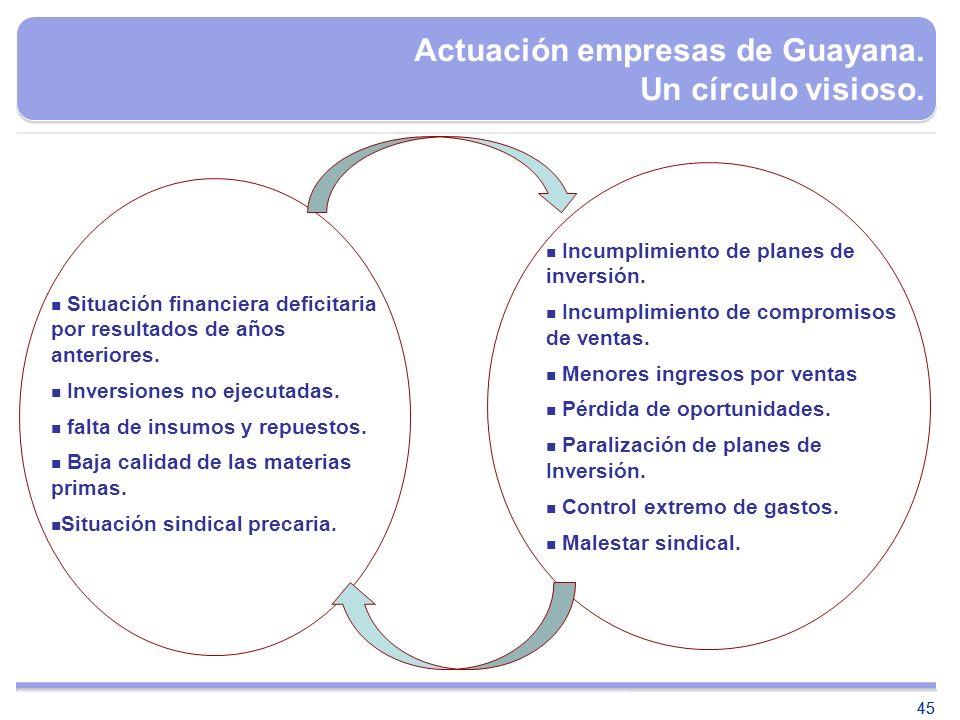 Actuación empresas de Guayana. Un círculo visioso.