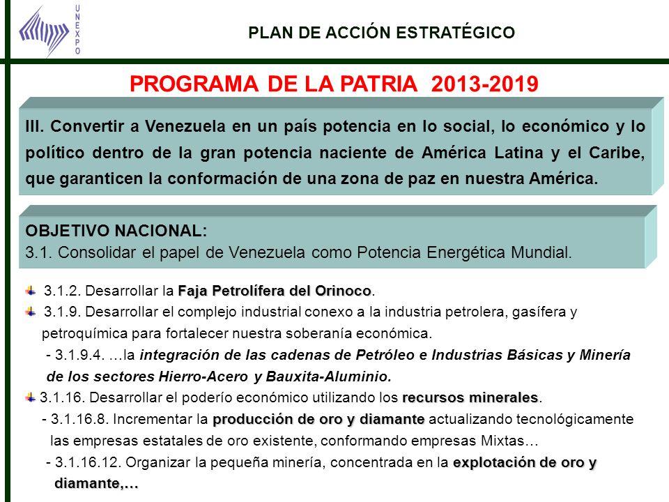 PROGRAMA DE LA PATRIA 2013-2019 PLAN DE ACCIÓN ESTRATÉGICO
