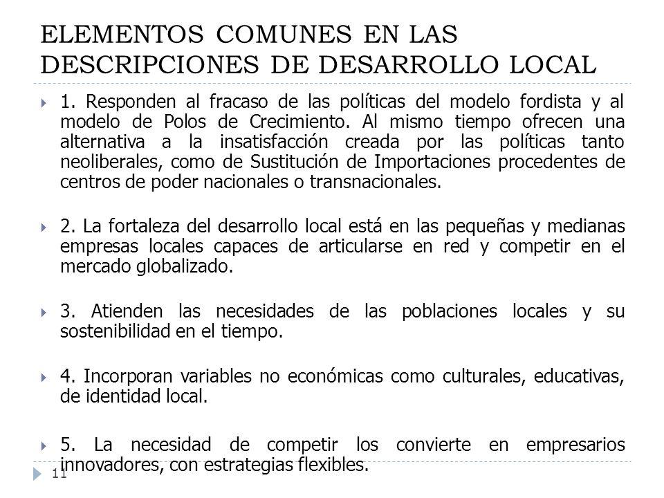 ELEMENTOS COMUNES EN LAS DESCRIPCIONES DE DESARROLLO LOCAL