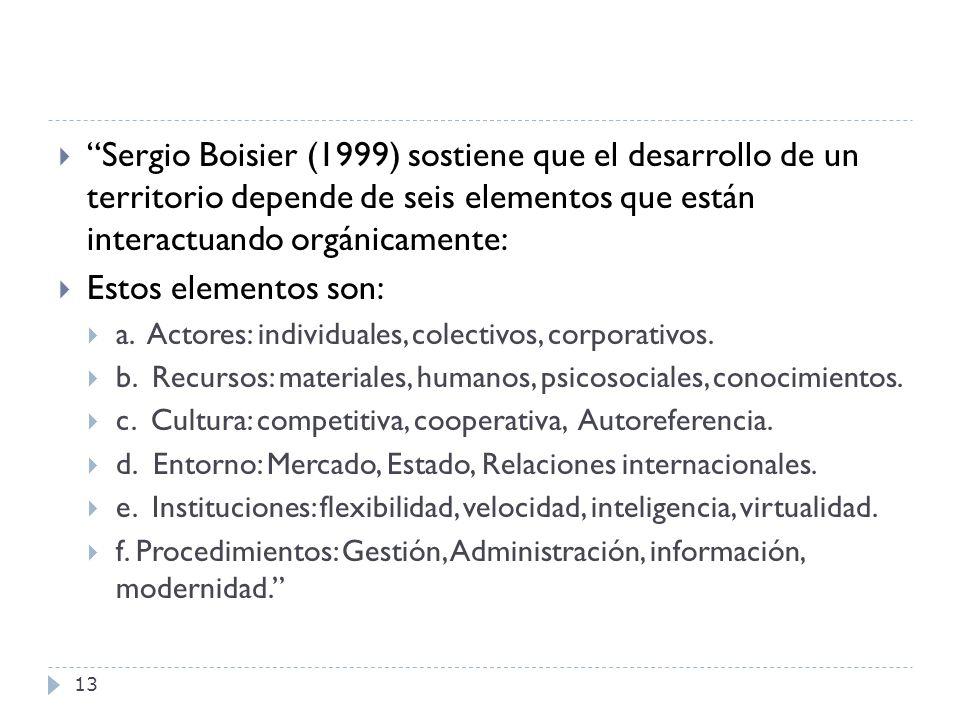 Sergio Boisier (1999) sostiene que el desarrollo de un territorio depende de seis elementos que están interactuando orgánicamente: