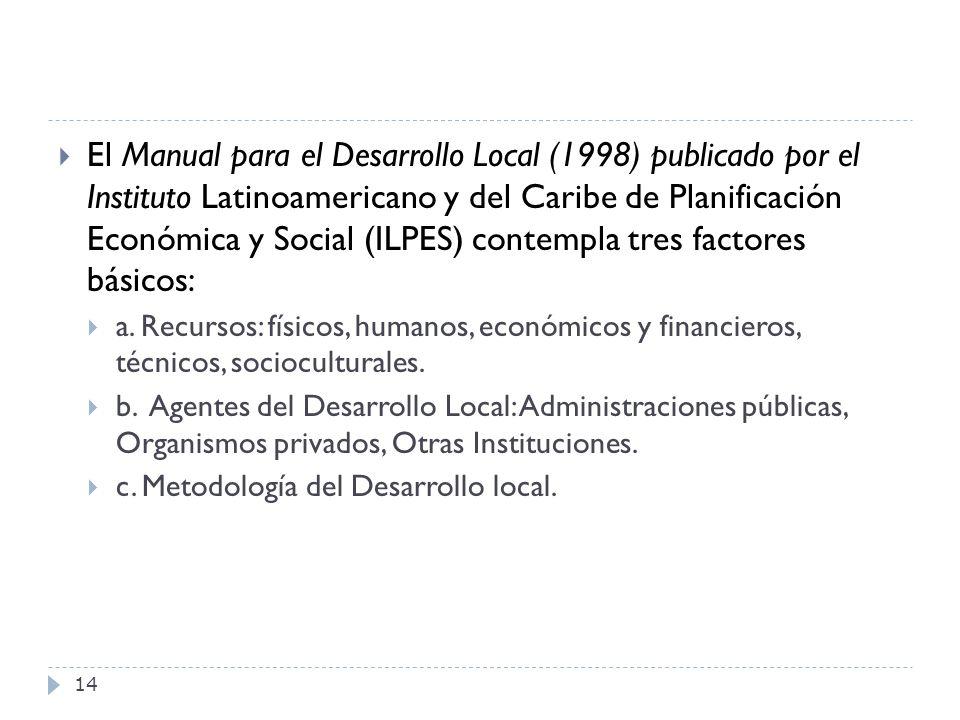 El Manual para el Desarrollo Local (1998) publicado por el Instituto Latinoamericano y del Caribe de Planificación Económica y Social (ILPES) contempla tres factores básicos: