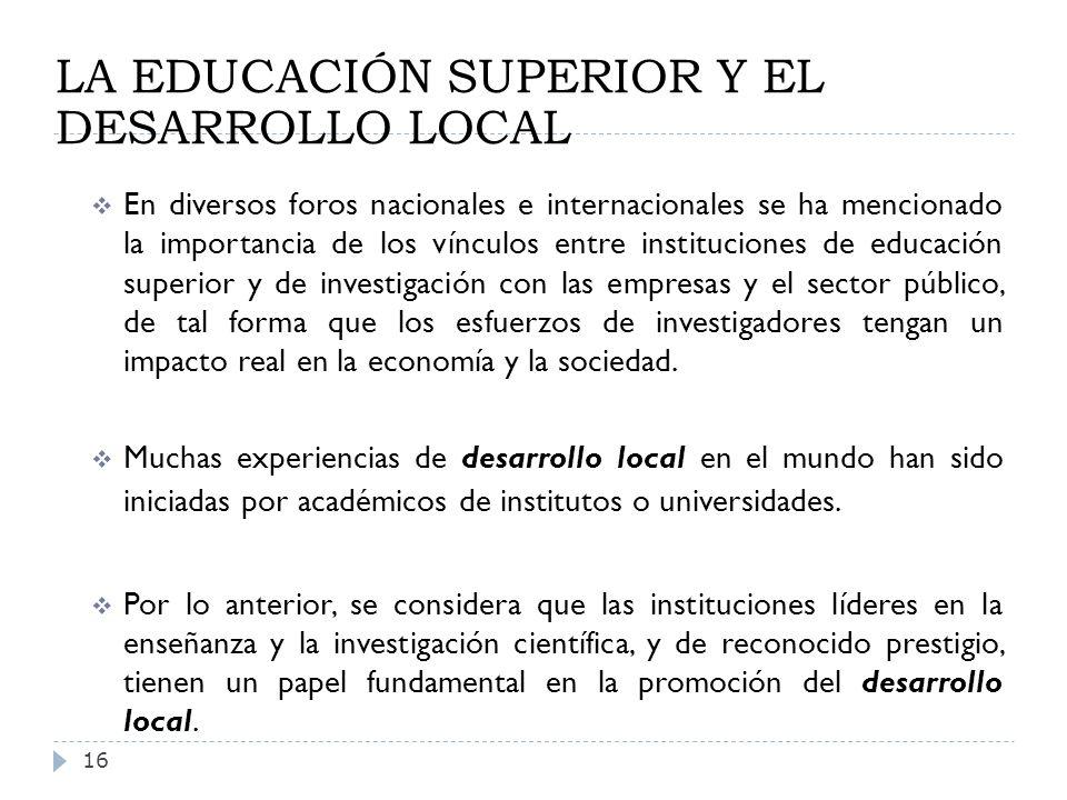 LA EDUCACIÓN SUPERIOR Y EL DESARROLLO LOCAL