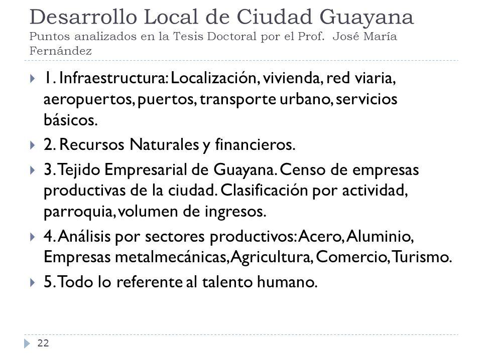 Desarrollo Local de Ciudad Guayana Puntos analizados en la Tesis Doctoral por el Prof. José María Fernández