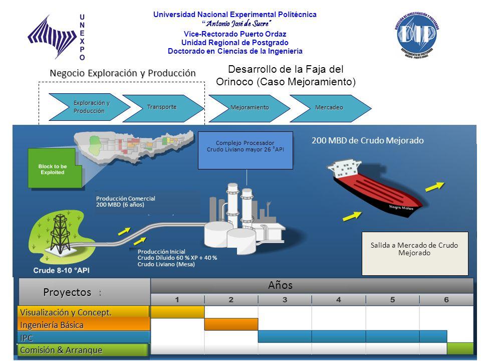 Años Proyectos Desarrollo de la Faja del Orinoco (Caso Mejoramiento)