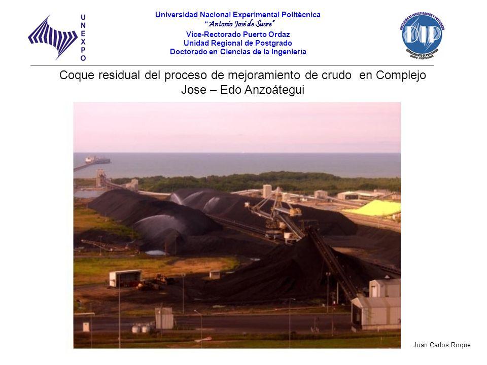 Coque residual del proceso de mejoramiento de crudo en Complejo Jose – Edo Anzoátegui