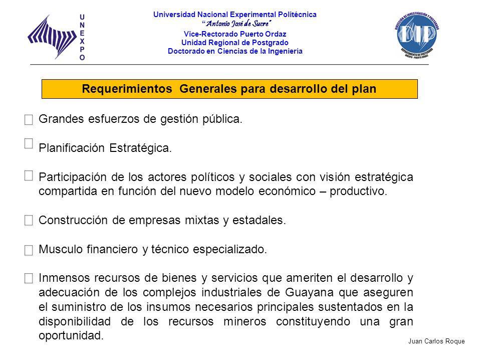 Requerimientos Generales para desarrollo del plan