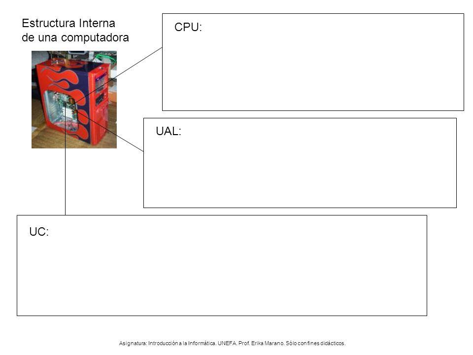 Estructura Interna de una computadora CPU: