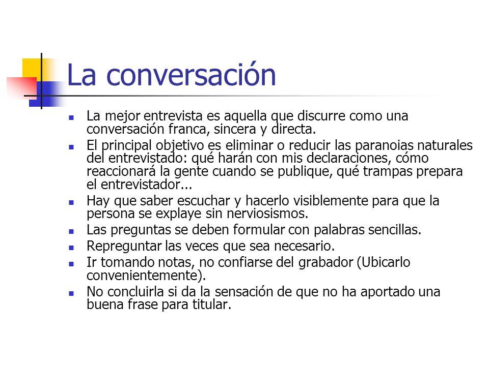 La conversación La mejor entrevista es aquella que discurre como una conversación franca, sincera y directa.