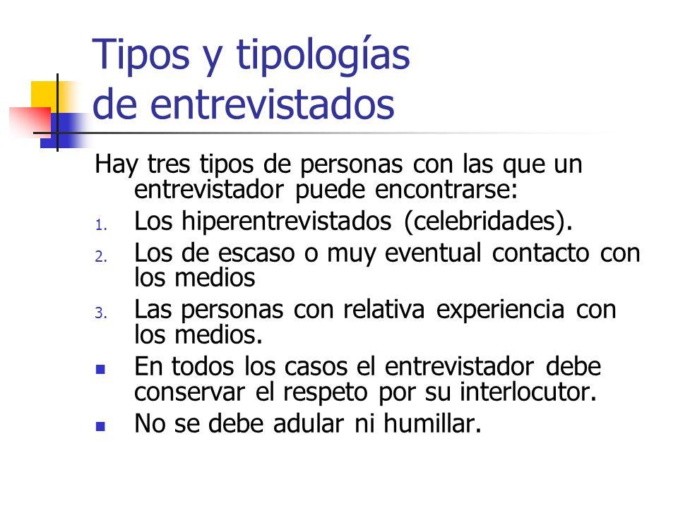 Tipos y tipologías de entrevistados