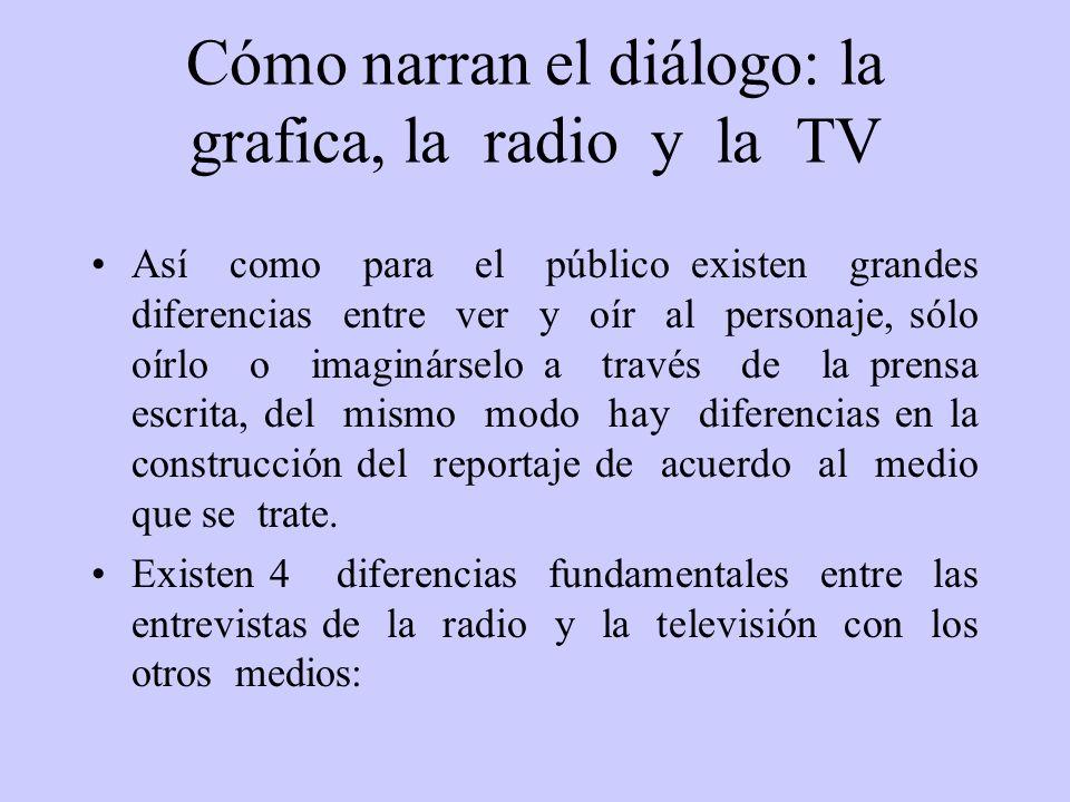 Cómo narran el diálogo: la grafica, la radio y la TV