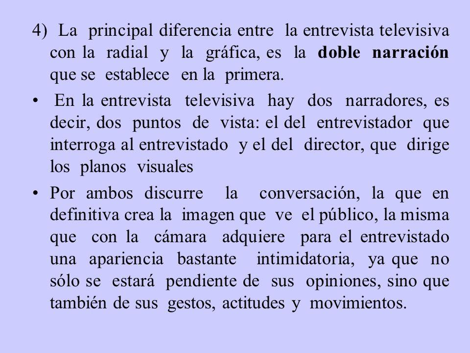 4) La principal diferencia entre la entrevista televisiva con la radial y la gráfica, es la doble narración que se establece en la primera.