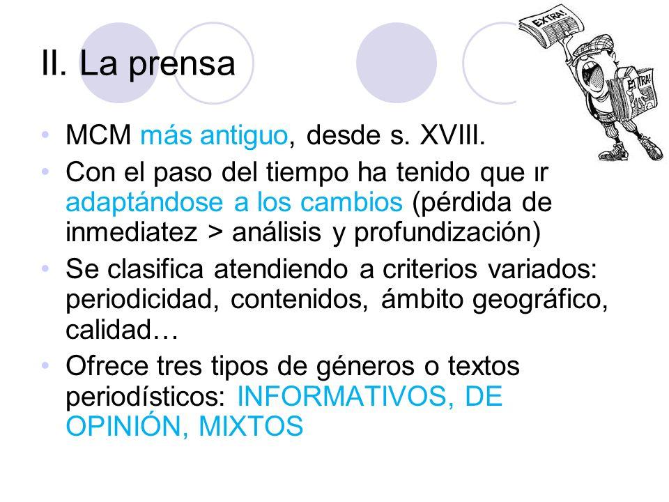 II. La prensa MCM más antiguo, desde s. XVIII.