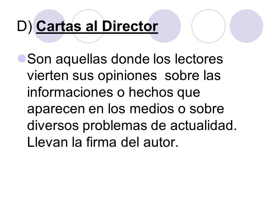 D) Cartas al Director