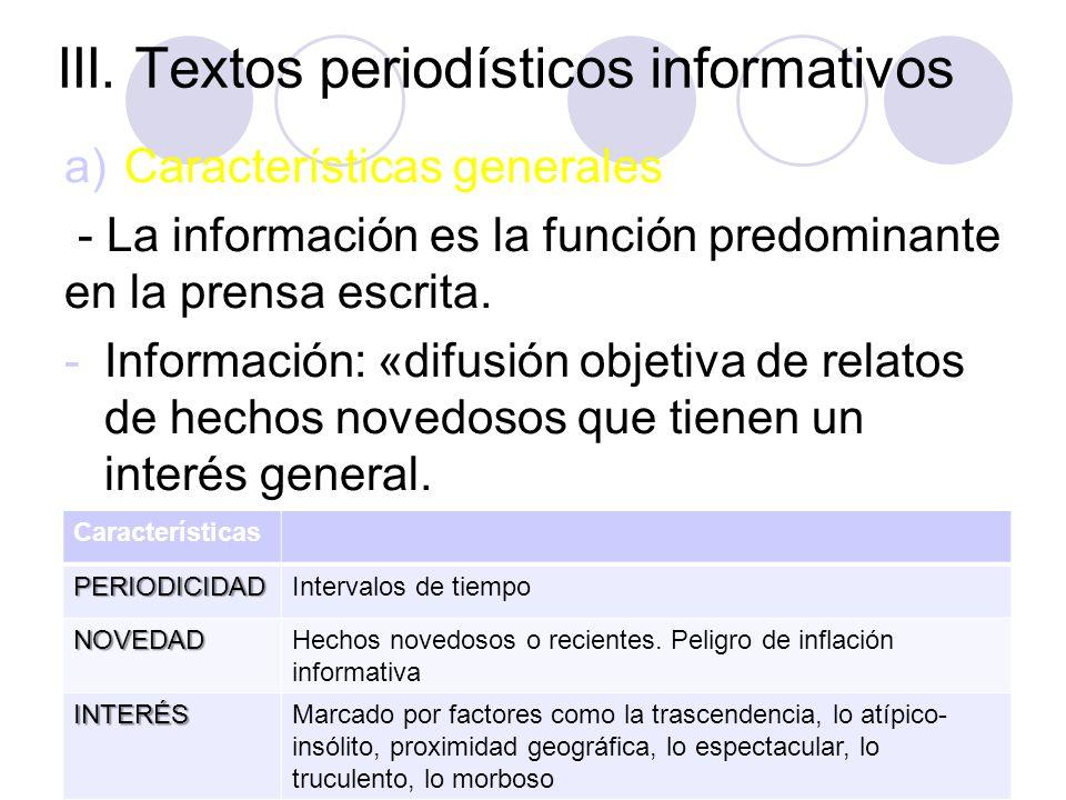 III. Textos periodísticos informativos