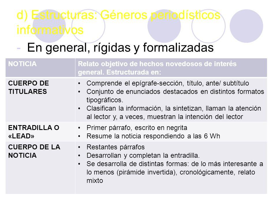 d) Estructuras: Géneros periodísticos informativos