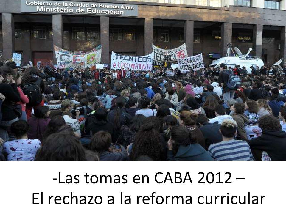-Las tomas en CABA 2012 – El rechazo a la reforma curricular