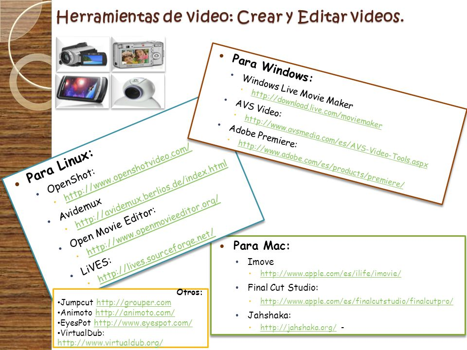Herramientas de video: Crear y Editar videos.