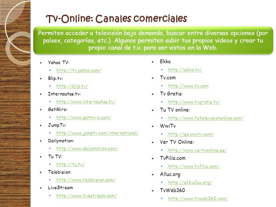 Tv-Online: Canales comerciales