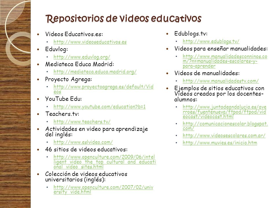 Repositorios de videos educativos