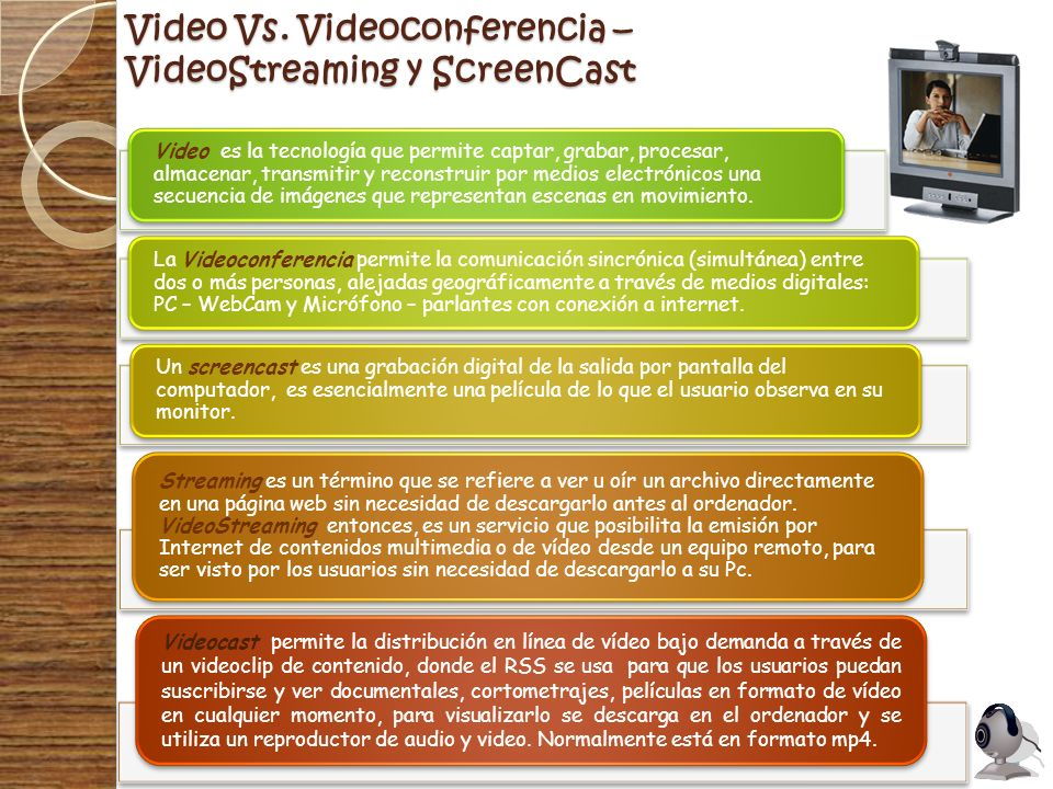 Video Vs. Videoconferencia – VideoStreaming y ScreenCast