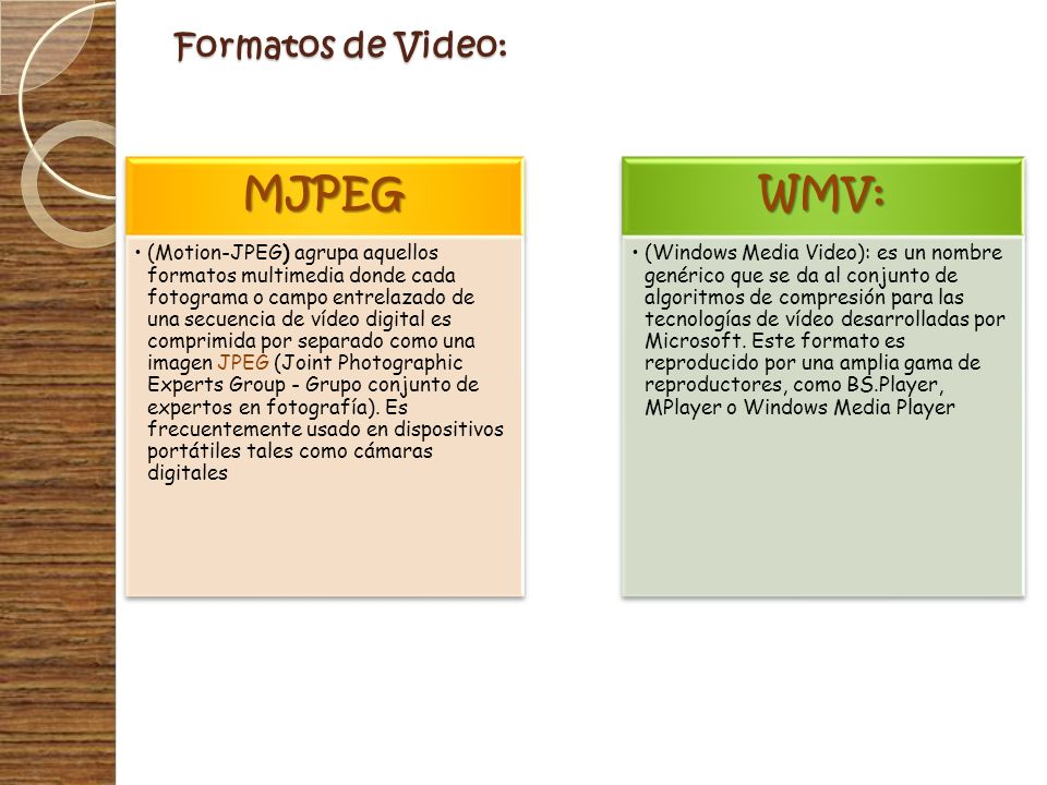 MJPEG WMV: Formatos de Video: