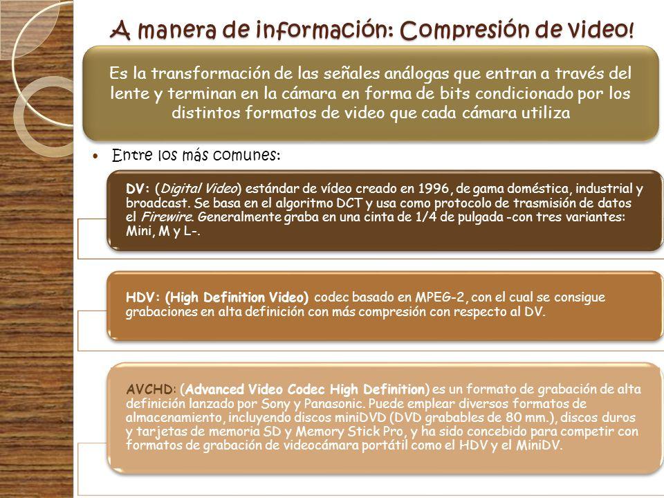 A manera de información: Compresión de video!