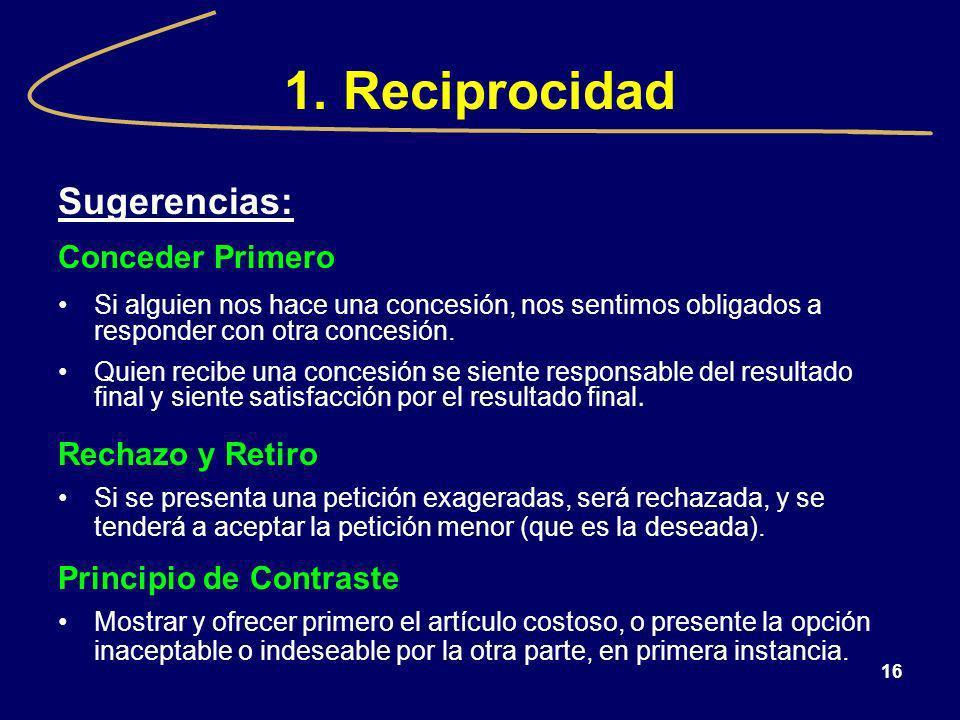 1. Reciprocidad Sugerencias: Conceder Primero Rechazo y Retiro