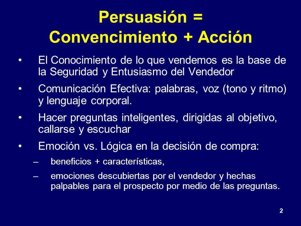 Persuasión = Convencimiento + Acción