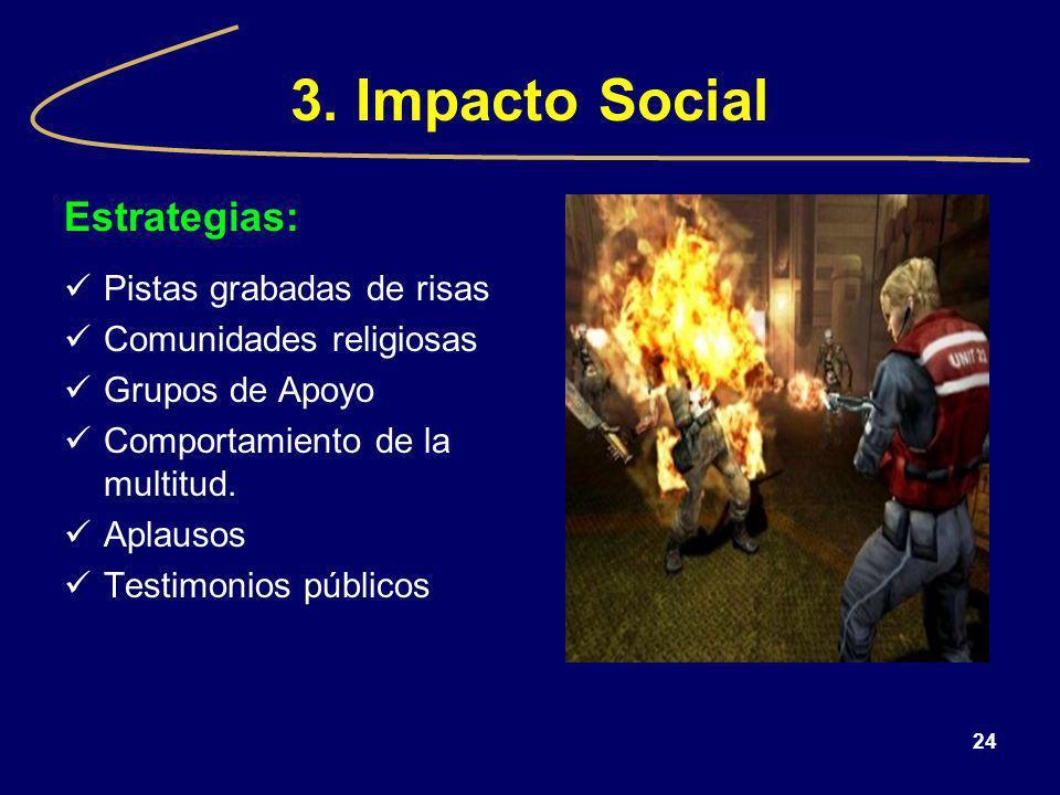 3. Impacto Social Estrategias: Pistas grabadas de risas