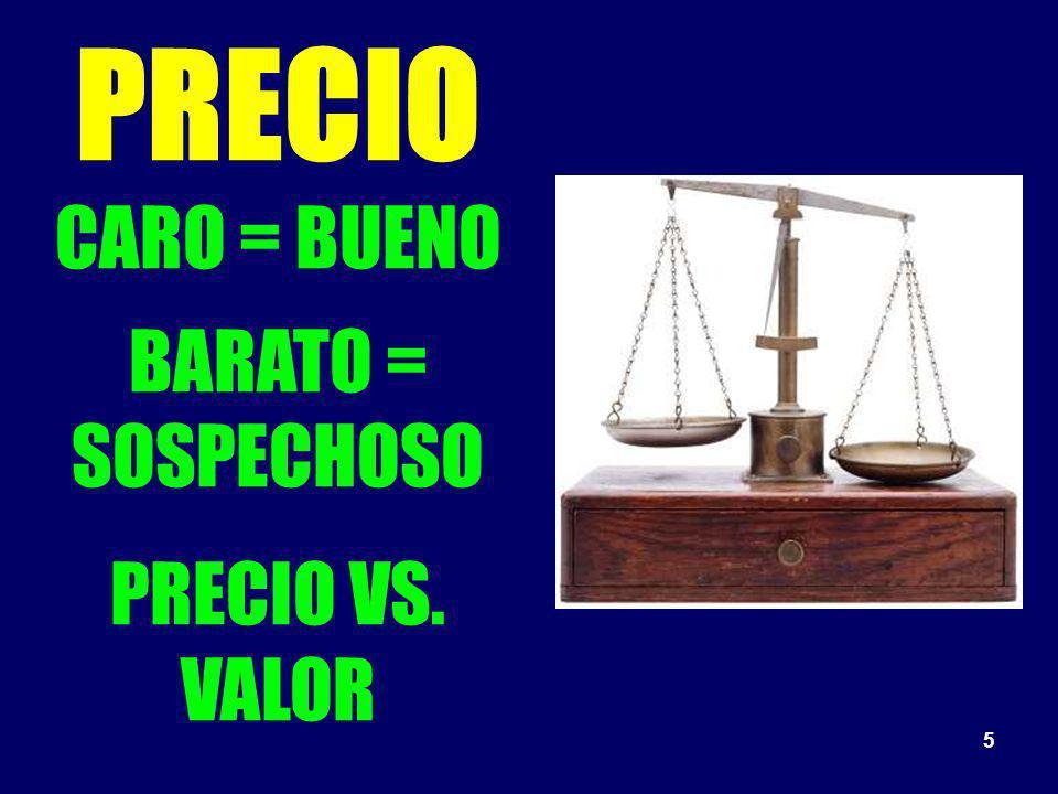 PRECIO CARO = BUENO BARATO = SOSPECHOSO PRECIO VS. VALOR