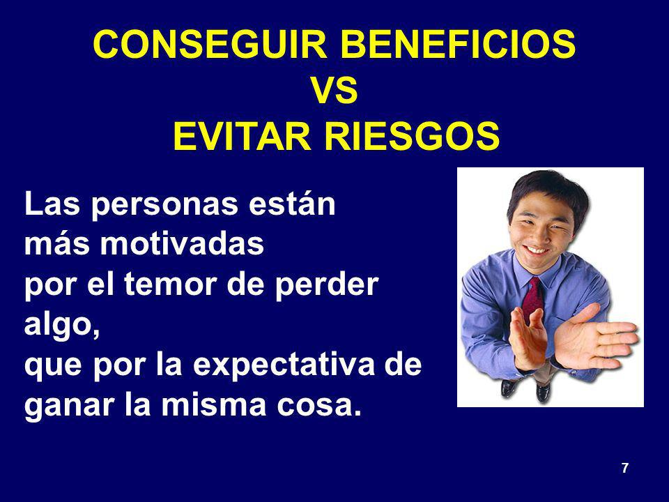 CONSEGUIR BENEFICIOS VS EVITAR RIESGOS