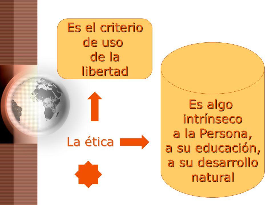 Es el criterio de uso. de la. libertad. Es algo. intrínseco. a la Persona, a su educación, a su desarrollo.
